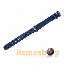 Ремешок тканевый Slava® ZULU 3773 синий темный 20 мм