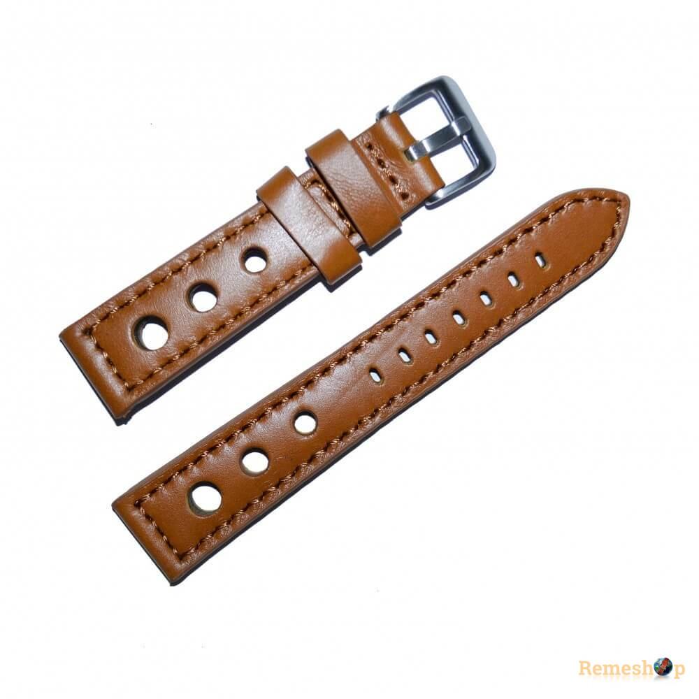 Ремешок кожаный Slava® 4229 коричневый светлый 20 мм