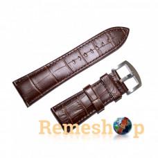 Ремешок кожаный Slava® 4317 коричневый темный 28 мм