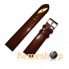 Лаковый ремешок кожаный Slava® 3098 коричневый 12 мм
