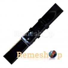 Лаковый ремешок кожаный Slava® 1743 черный 12 мм