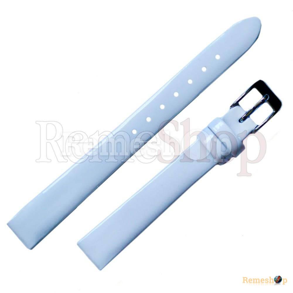 Лаковый ремешок кожаный Slava® 1732 белый 12 мм