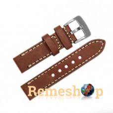 Ремешок кожаный STAILER 2407 коричневый светлый 22 мм