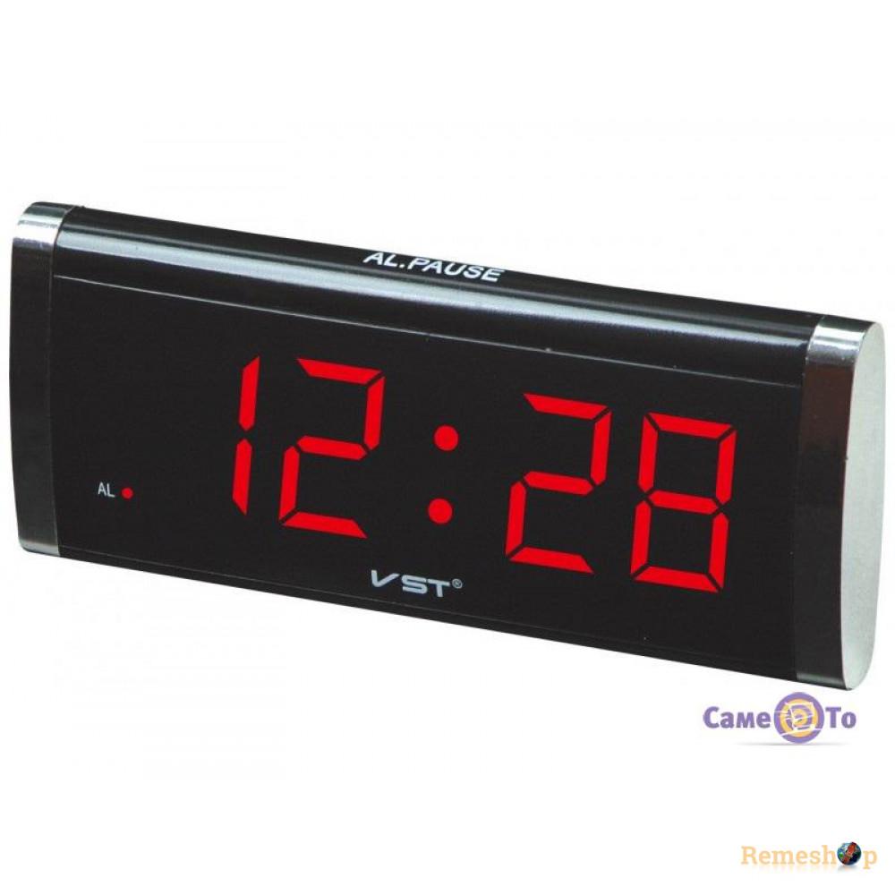 Электронные цифровые настольные часы будильник  VST-730 красный