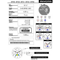 Часовой механизм MIYOTA 6P80